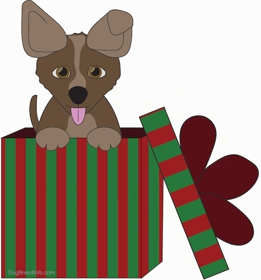 A drawling of a brown and tan puppy with perk ears poking its head out of the top of a wrapped red and green striped box that has a bow on the lid which is laying along the side of the box on the floor. The puppies pink tongue is out, it has brown eyes and little fluffy paws.