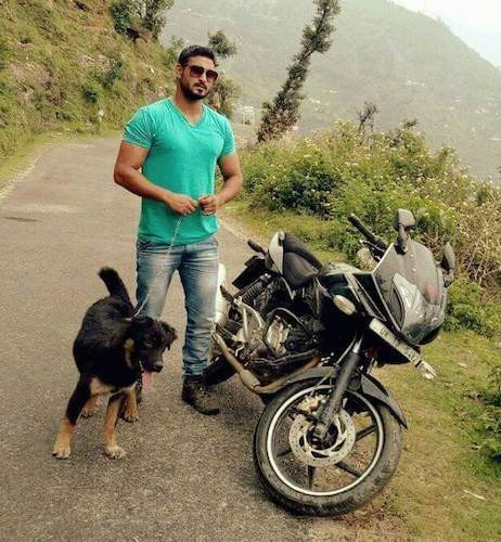 A man in a green shirt and sunglasses standing on a small back road on the side of a mountain next to a black motorcycle and a black and tan large breed dog.