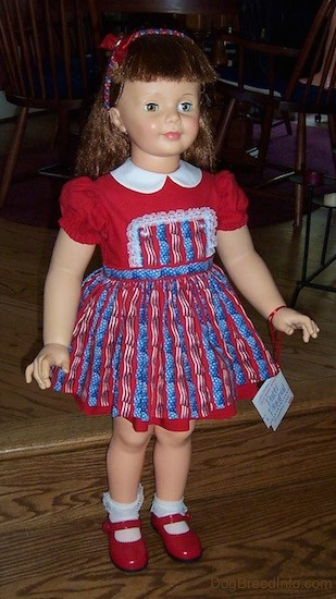 A large doll that looks like a real little girl with long brown hair, blue eyes, small pink lips, rosey cheeks and a small nose wearing a red, white and blue dress, red shoes and white socks. There is a white tag attached by a red ribbon hanging from her arm.