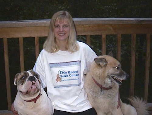English Bulldog and a Husky/Shepherd mix pose with a lady on a wooden porch.