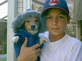 Front view - A white with tan Parson Russell Terrier dog is wearing a blue parka with a fuzzy hood and there is a boy wearing a blue and red Cleveland Indians baseball cap holding the dog up near his head.