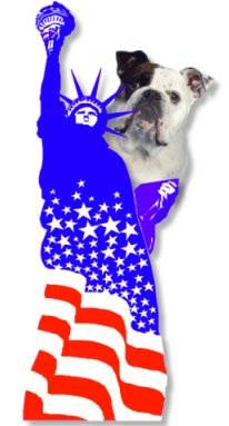 Mugzy the Bulldog is photoshopped on the back of the Statue of Liberty which has an amercian flag overlayed