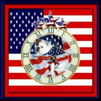 Mugzy the Bulldog photoshopped into an American Flag Clock
