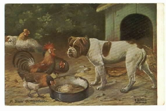 A colored drawing of the left side of a Bulldog that is standing in front of a dog house and three chickens trying to eat out of his food bowl.