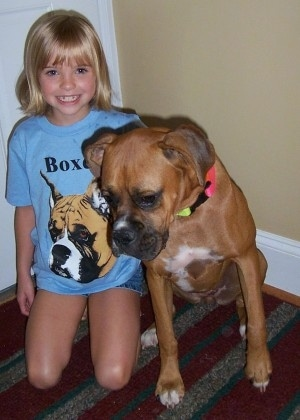 Amie wearing a blue Boxer shirt sitting next to Allie the Boxer on a rug