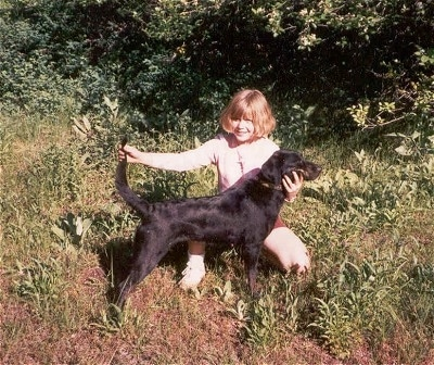 A brown-haired girl is kneeling behind a Leopard Cur dog posing it in a stack outside with woods behind them.