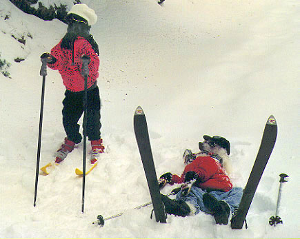 A Black Poodle is standing on its hind legs wearing a ski suit. It is also in skis. It is wearing sunglasses and a hat as well. And next to it is a White Poodle laying in snow, dressed like a human, with skis stick in the snow