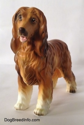 The front right side of a brown with white Vintage porcelain Lefton Japan Afghan Hound dog figurine. The dog has detailed painted eyes, a black noes and a pink mouth. The top of its coat is lighter than the legs that are white.