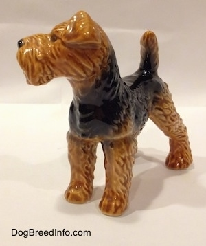 The front left side of a black and brown Vintage Airedale Terrier dog West Germany Goebel figurine that has a boxy shaped muzzle and a tail that is up in the air.