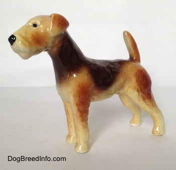The left side of a black and tan with white Vintage Goebel Airedale Terrier porcelain dog figurine with a darker and lighter tan mixed in.