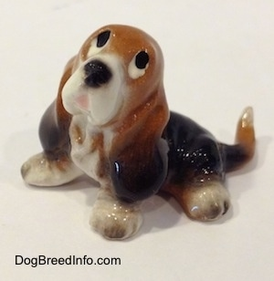 Topdown view of a black and brown with white ceramic Basset Hound figurine that is looking up. The figurine eyes are just black circles.