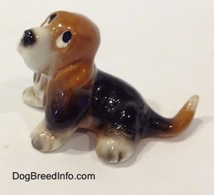 The left side of a black and brown with white ceramic Basset Hound figurine that is looking up. The figurine is glossy.