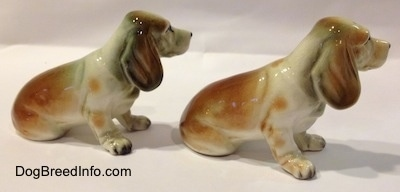 The right side of two brown and white with black ceramic Basset Hound figurine.