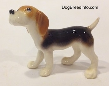 The left side of a black and white with tan miniature Beagle figurine. The figurine is very glossy.