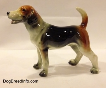 The left side of a black, brown and white Beagle figurine. The figurine is very glossy.