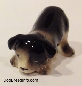 The front left side of a Hagen-Renaker miniature black with white Border Collie puppy figurine. The figurine is play bowing.