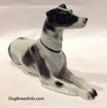 The front right side of a white with black vintage TMK-1 crown mark Borzoi. The figurine has fine hair details.