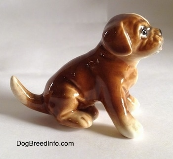 The right side of a brown with white Boxer puppy figurine that is in a sitting pose. The puppy has a full-sized tail.