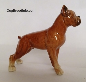 The right side of a porcelain brown Boxer dog figurine in a show stance. The figurine is very glossy.