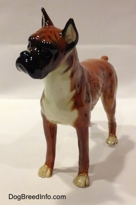 The front left side of a 1970s brown with black and white Boxer dog figurine. The figurine has fine paw details.