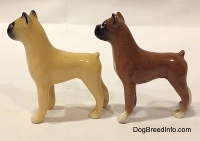 The left side of two color variations of a miniature Boxer dog standing figurine. The back most figurine has white paws and the other figurine has tan paws.