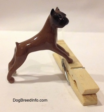 The right side of a brown with black Boxer dog figurine that is placed on top of a clothespin. The paws of the figurine lack detail.