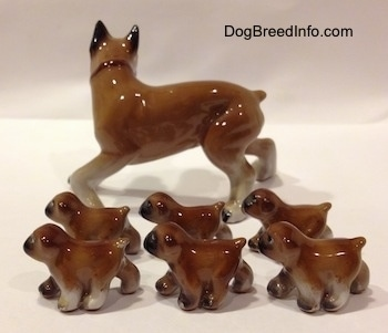 The left side of a brown with white and black Boxer mom with 6 puppies figurines. All of the figurines have short tails.