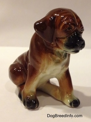 The front right side of a brown with black and white ceramic Boxer puppy figurine with uncropped ears in a sitting pose. The figurine has a black muzzle and ears that hang down to the sides.
