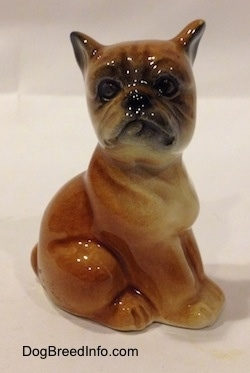 The right side of a brown with white Boxer puppy figurine that is in a sitting pose. The face of the figurine is very detailed.