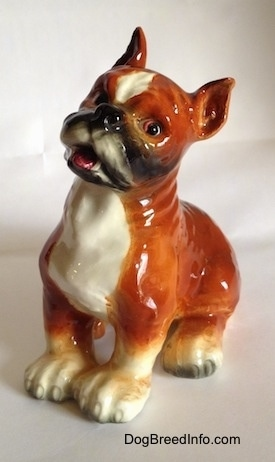 The front left side of a porcelain brown with white and black Boxer dog figurine. The figurine has a very detailed face.