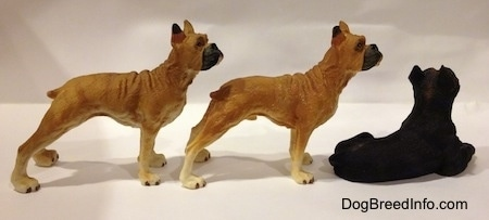 The right side of two tan with white and black Boxer standing figurines are behind a black with brown laying Boxer figurine.
