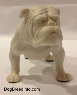 1970s white bisque porcelain Bulldog by Goebel. Front view