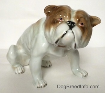 A white with brown Bulldog figurine in a sitting pose. The figurine has pink eyes.