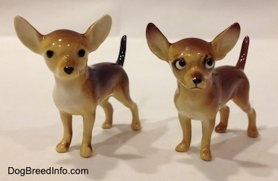 Two different Chihuahua ceramic figurines. Both figurines have arched up tails.