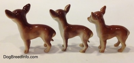 The left side of three different looking ceramic Chihuahua figurines. The figurines are glossy.