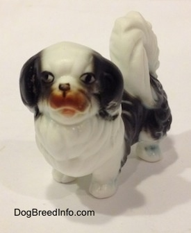 A white and black bone china Japanese Chin dog figurine. The figurine has a brown mouth.