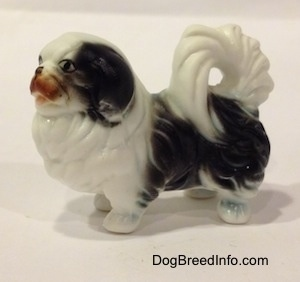 The left side of a white and black bone china Japanese Chin dog figurine. The tail of the figurine is curled on to the figurines back.