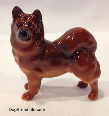 The left side of a brown Chow Chow figurine that is in a standing pose. The figurine is glossy.