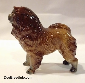 The left side of a porcelain brown with black Chow Chow figurine. The hair details of the figurine are fine.