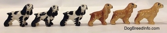 The left side of six color variations of a Cocker Spaniel figurine. The eyes are lightly detailed.