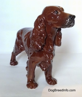 The front right side of a brown with black Cocker Spaniel porcelain figurine. It has a defined snout.
