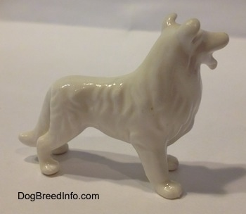 The right side of a bone china figurine that is of a white Rough Collie dog. The figurine has hair shapings.