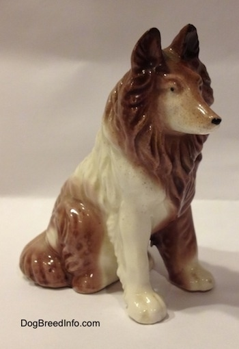 The front right side of a figurine that is a brown and white porcelain Rough Collie in a sitting pose. The figurine has fine paw details.