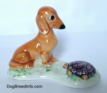 The right side of a figurine of a brown Dachshund in a sitting pose across from and looking down at a tortoise. The dachshund part of the figurine has big black circles for eyes.
