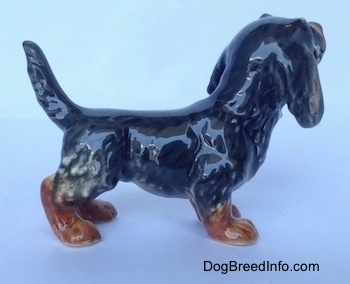 The right side of a black and brown Dachshund figurine in a standing pose. The figurine has a long body and an arched up tail.