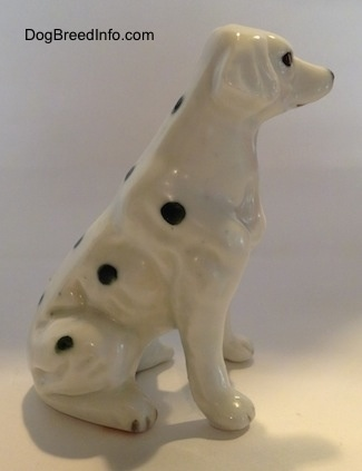 The right side of a figurine that is a Dalmatian puppy in a sitting pose. The figurine lacks fine details in its paws.
