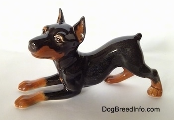 The left side of a black and tan porcelain Doberman Pinscher figurine that is in a play bow pose. The figurine has a short tail.