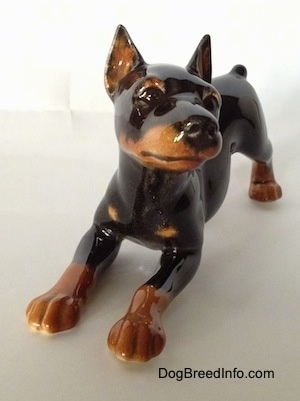 A black and tan figurine of a Doberman Punscher in a play bow pose. The figurine has a detailed face and cropped ears. Its nose and eyes are black.