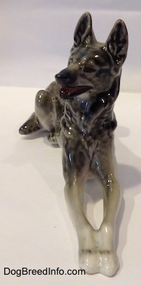 Russian Lomonosov vintage porcelain Dutch Shepherd made in the USSR. Font view.