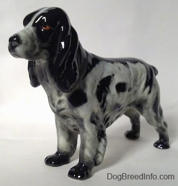 The front left side of a figurine of a black and white English Springer Spaniel. The figurine has black spots along the length of its body and brown eyes.